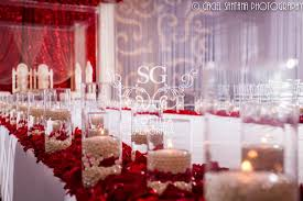 Suhaag Garden Florida California Atlanta Indian Wedding Decorators Red And White Themed Pearls Roses Petals Floating