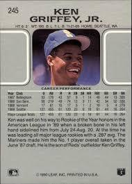 1990 Upper Deck Ken Griffey Jr by 1990 Leaf 245 Ken Griffey Jr Nm Mt