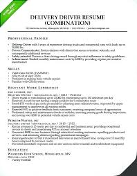 Job Description Truck Driver Personal For Resume Delivery Combination Sample