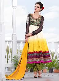 sensational off white u0026 yellow art silk anarkali suit
