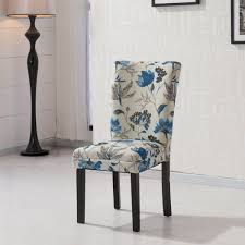 Target Upholstered Dining Room Chairs by Furniture Hlw Arbonni Blue Floral Fabric Modern Parson Chairs