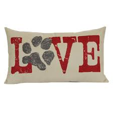 Love Paw Print Woven Oblong Throw Pillow