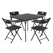 Cosco 5-Piece Black Fold-in-Half Folding Card Table Set ...