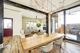 Dining Room Chair Ceiling Lighting Medium Hardwood Floor Table And Pendant
