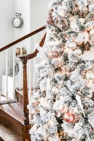Blush And Copper Icicle White Ornaments On A Full Flocked Tree Flockedtree