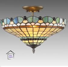 Tiffany Style Lamps Canada by Peacock Tiffany Semi Flush Ceiling Light Amazon Co Uk Lighting