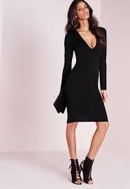 ponte long sleeve midi dress black missguided