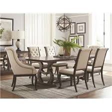 Coaster Glen Cove Trestle Dining Table Upholstered Chair Set