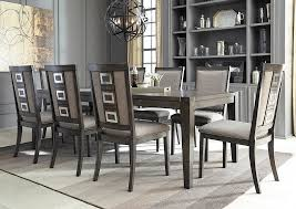 Chadoni Gray Rectangular Dining Room Extension Table W 8 Upholstered Side ChairsSignature Design
