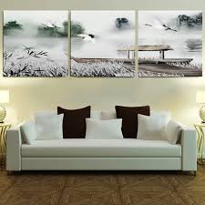 Framed 3 Panel Large Part Wall Art Chinese Bedroom Sets Black And White Home Decor