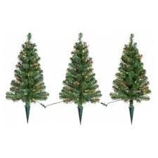 Prelit Artificial Christmas Pathway Trees Alberta Spruce Multicolored 3pk 2ft