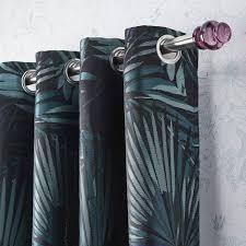 rideau tamisant jungle bleu vert l 140 x h 250 cm leroy merlin