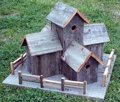 Rustic Barnwood Decorative Bird House Condo With Fence
