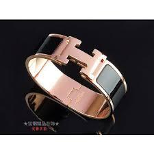 hermes clic clac h black enamel and 18k pink gold medium bracelet