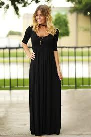 black maxi dress with 3 4 sleeves black long dress casual maxi