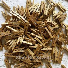 50 Pcs Gold Mini Clothes Pegs Clothespins Boys Girls Baby Shower Decoration Christmas Tree Rustic Wedding Banner Clip In Party DIY Decorations
