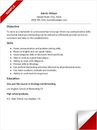 Bartender Resume With No Experience