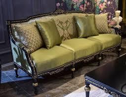 casa padrino luxus barock wohnzimmer sofa grün schwarz gold 209 x 74 x h 106 cm edles massivholz sofa mit dekorativen kissen wohnzimmer möbel