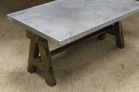 Zinc Coffee Table With Rustic Base Lake And Mountain Home
