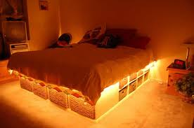 Bedroom With Under Bed Storage And Rope Lighting Popular And