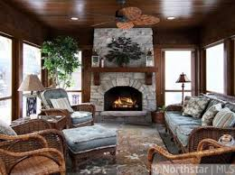 4 Season Porch Sunroom Rustic Fireplace And Ceiling We Dont Have A Fire Place But I Oddly Love The Blue
