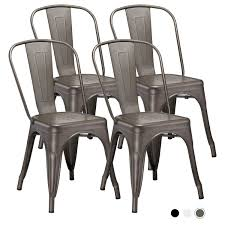 Metal Indoor-Outdoor Dining Chairs Stackable Chic Industrial Side Chairs  Design Stools With Back Use For Kitchen Bistro Cafe Set Of 4 (Gun Metal) Modern Edge Inoutdoor Stacking Ding Chair White Outdoor Interiors Danish Stackable Eucalyptus 4pack Aventura Commercial Grade Hot Item Set Hotel Project Wicker Rattan Patio Table Magic Style Pemberton 5piece Commercialgrade With 4 Chairs And A 38 Muut Black Grey Of Hampton Bay Mix Match Brown Luciano Armchair Shop Garden Tasures Steel Mid Telescope Casual Avant Mgp Alinum Armless Aldergrove Robert Alinium Cafe
