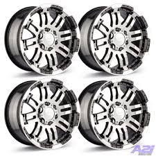100 17 Truck Wheels Set 4 Vision 375 Warrior Black 8 Lug Chevy Dodge