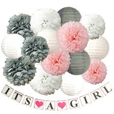Amazoncom Pink Gray White Its A Girl Baby Shower Tissue Paper Pom
