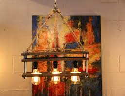 Pallet Wood 3 Bulb Light