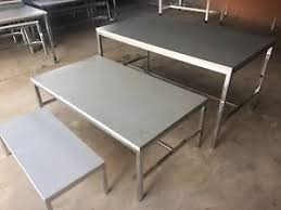 Set Of 3 Tables Retail Store Commercial Display Clothes Metal Wood