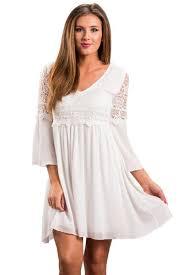 Her Fashion Bohemian Style White Dreamy Lace Top Elegant Swing Dress