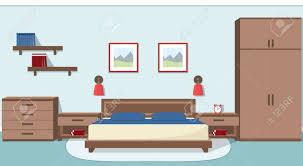 das innere der gemütlichen schlafzimmer in blau und braun farben