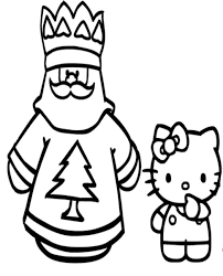 Coloring Pages Of Santa Claus And Hello Kitty Christmas