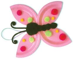 This Dotty Butterfly Is Made Using Paper Plates And Colorful Poms