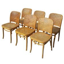 Thonet Bentwood Chair Cane Seat by Josef Hoffman For Thonet Set Of Six Bentwood And Cane Chairs At