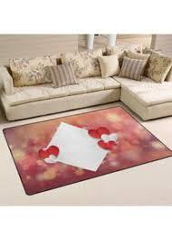 teppich mit rotem herz druck wohnzimmer