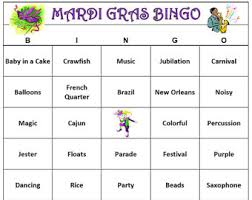 Mardi Gras Party Bingo Game 60 Cards Carnivale Words Kid Friendly Version