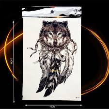 Sketch Indian Wolf Dreamcatcher Tattoo Sticker Waterproof Black Fake Temporary For Men Women Arm