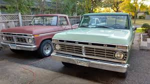 2 1973 F100s , Red One With 1977 Grill Insert Ford Truck | 1973 ... Curbside Classic 1973 Ford F350 Super Camper Special Goes Fordtruck F 100 73ft1848c Desert Valley Auto Parts Vehicles Specialty Sales Classics Ranger Aftershave Cool Truck Stuff Fordtruckscom First F250 Xlt F150 Forum Community Of 1979 Dash To For Sale On Classiccarscom F100 Junk Mail Stock R90835 Sale Near Columbus 44 Pickup Trucks Pinterest Autotrader