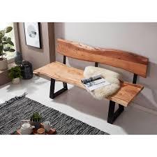 wohnling esszimmerbank gaya 180x85 5x60 cm akazie massivholz bank mit baumkante sitzbank holzbank mit lehne küchenbank essbank holz landhausstil