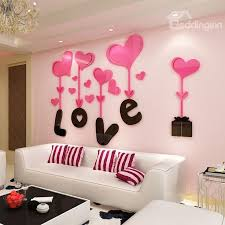 3D Love And Heart Shapes Acrylic Waterproof Sturdy Eco Friendly Wall Stickers