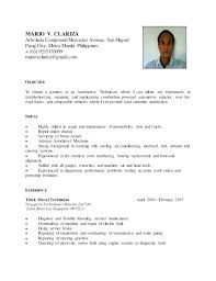 Automotive Technician Resume Auto Mechanic Sample Objective Writing