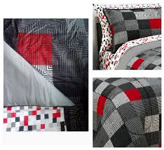 Red Black Grey Geo Pixel Bedding Twin XL Full Teen Boy forter