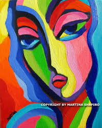 Art Deco Woman Contemporary Modern Abstract Expressionist Original Oil Painting By Artist Martina Shapiro