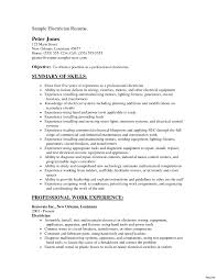 Sample Resume Electrician