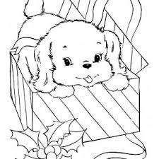 Little Dog Came From Present Box Coloring Page
