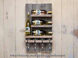 WINE RACK WALL Mounted This Beautiful Rustic Country Style Wine Rack Holds Four Average Size Bottles And Glasses