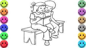 Two Friends Reading Book Coloring Pages Drawing for Kids Learn
