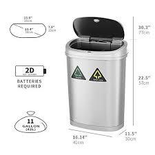 amagabeli automatischer sensor mülleimer 11gallon 42l recycler kitchen bin edelstahl automatischer berührungsloser infrarot bewegungsmelder
