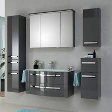 lomadox badezimmer möbel in grau hochglanz